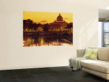 St Peter's Basilica and Ponte Saint Angelo, Rome, Italy Wall Mural by Doug Pearson