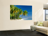 Palm Trees and Tropical Beach, Maldive Islands, Indian Ocean Mural por Steve Vidler