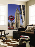 Westminster, Big Ben and Underground, Subway Sign, London, England Wall Mural by Steve Vidler