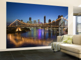 Australia, Queensland, Brisbane, Story Bridge with Riverside Centre Highrises Wall Mural – Large by Walter Bibikow