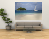 Panama, Comarca de Kuna Yala, San Blas Islands, Beach and Sailing Boat Wall Mural by Jane Sweeney