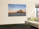 City Skyline Along Detroit River, Detroit, Michigan, USA Wall Mural by Walter Bibikow