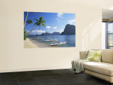 Outriggers at El Nido, Bascuit Bay, Palawan, Philippines Wall Mural by Steve Vidler