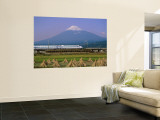 Mount Fuji, Bullet Train and Rice Fields, Fuji, Honshu, Japan Wall Mural by Steve Vidler