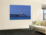 Mackinac Bridge, Straits of Mackinac Between Lakes Michigan and Huron, Michigan, USA Wall Mural by Walter Bibikow