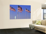 Statue of Liberty and Us Flags, New York City, USA Wall Mural by Walter Bibikow
