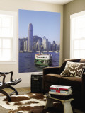 Star Ferry and City Skyline, Hong Kong, China Muurposter van Steve Vidler