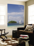Panama, Comarca de Kuna Yala, San Blas Islands, Beach and Sailing Boat Wall Mural by Jane Sweeney