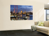 Millennium Wheel and Houses of Parliament, London, England Wall Mural by Peter Adams