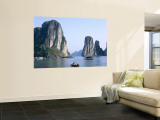 Halong Bay, Karst Limestone Rocks, House Boats, Vietnam Wall Mural by Steve Vidler