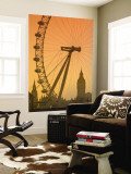London Eye and Big Ben, South Bank, London, England Wall Mural by Alan Copson