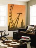 London Eye and Big Ben, South Bank, London, England Wall Mural by Alan Copson