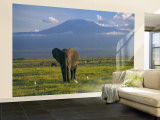 Elephant, Mt. Kilimanjaro, Masai Mara National Park, Kenya Wall Mural – Large by Peter Adams