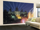 Magic Fountain and National Palace, Barcelona, Spain Wall Mural – Large by Jon Arnold