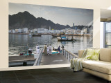 Oman, Muscat, Mutrah, Morning at the Mutrah Fish Market Wall Mural – Large by Walter Bibikow