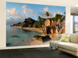 Anse Source d'Argent Beach, La Digue Island, Seychelles Wall Mural – Large par Michele Falzone