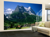 Town and Mountains, Grindelwald, Alps, Switzerland Wall Mural – Large by Steve Vidler
