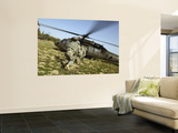 US Army Soldiers Prepare to Board a UH-60 Black Hawk Helicopter Wall Mural