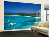 Deep Bay, Beach and Yachts, Blue Water, Antigua, Caribbean Islands Wall Mural  Large by Steve Vidler