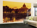 St Peter's Basilica and Ponte Saint Angelo, Rome, Italy Wall Mural – Large by Doug Pearson