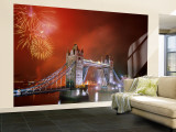 Tower Bridge and Fireworks, London, England Wall Mural – Large by Steve Vidler