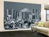 City Skyline and Mount Fuji, Tokyo, Honshu, Japan Wall Mural – Large by Steve Vidler