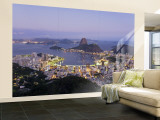 Botafogo and Sugarloaf Mountain from Corcovado, Rio de Janeiro, Brazil Wall Mural  Large by Demetrio Carrasco