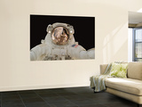 International Space Station Components Reflected in Astronaut's Helmet, October 30, 2007 Wall Mural