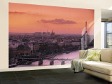 Eiffel Tower and River Seine, Paris, France Wall Mural  Large by Walter Bibikow