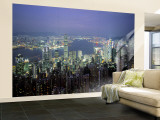 Victoria Harbour and Skyline from the Peak, Hong Kong, China Wall Mural – Large by Jon Arnold