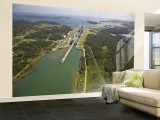 Panama, Panama Canal, Container Ships in Gatun Locks Wall Mural – Large by Jane Sweeney