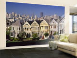 Alamo Square and City Skyline, San Francisco, California Usa Gran mural por Gavin Hellier