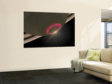 Artist's Concept of a Cherry-Red Aurora Hovering Over Saturn's South Pole Wall Mural