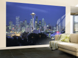 Seattle Skyline Fr. Queen Anne Hill, Washington, USA Wall Mural – Large by Walter Bibikow