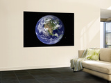 Full Earth Showing North America (With Stars) Mural