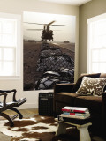 Marine Specialists Attach Sling Loads to the Body of an Army CH-47 Chinook Cargo Helicopter Wall Mural