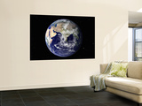 Full Earth Showing Europe and Asia (With Stars) Wall Mural