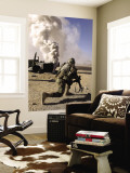 A US Army Soldier Reacts to a Controlled Explosion Wall Mural