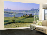 Val d'Orcia, Countryside View, Farmhouse and Green Grass and Hills, Tuscany, Italy Wall Mural – Large by Steve Vidler
