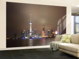 China, Shanghai, Pudong Skyline Across Huangpu River Wall Mural  Large by Gavin Hellier