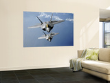 Two F-22 Raptors Fly over the Pacific Ocean Wall Mural