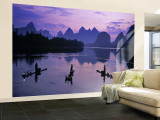 Cormorant Fishermen, Li River, Yangshuo, Guangxi, China Wall Mural – Large by James Montgomery Flagg