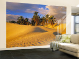 Sand Dunes and Oasis, Desert, Tunisia Wall Mural – Large af Peter Adams
