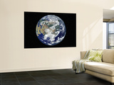 Fully Lit Earth Centered on Asia Wall Mural