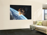 Asteroid in Front of the Earth Wall Mural