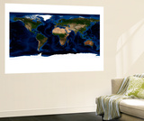 Topographic &amp; Bathymetric Shading of Full Earth Wall Mural