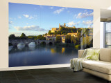 River Orb and Cathedrale St Nazaire, Beziers, Languedoc Roussillon, France Wall Mural – Large by Alan Copson