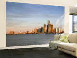 City Skyline Along Detroit River, Detroit, Michigan, USA Wall Mural  Large by Walter Bibikow