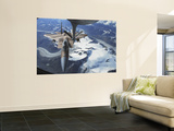 F-15C Eagle Aircraft from behind a KC-135R Stratostanker over the Pacific Alaskan Range Wall Mural