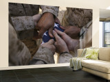 Marines Fold an American Flag after It was Raised in Memory of a Fallen Soldier Wall Mural – Large